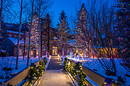 Holiday lights at the Snowmass Chapel in Snowmass Village, Colorado.