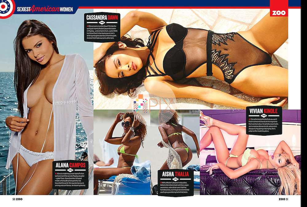 Zoo Weekly magazine in Australia names the 15 Sexiest American Women on the planet! Among them are Alana Campos (far left), Cassandra Dawn (top right) and Vivian Kindle (bottom right). <br /> <br /> Images from our shoots 'Alana Campos' [http://www.apixsyndication.com/gallery/Alana-Campos/G00000LmKS2LSNS4/C00006ZPdJZ60Tiw], 'Cassandra Dawn' [http://www.apixsyndication.com/gallery/Cassandra-Dawn/G00003_P2Ou6fb3U/C0000oCyOzFU4qLc] and 'Vivian Kindle :: LA luxe' [http://www.apixsyndication.com/gallery/Vivian-Kindle-LA-luxe/G0000DbQv99I5hIs/C0000bV_RJRFECw4], available for worldwide use with approval.