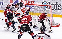 2020-01-11 | Umeå, Sweden:Piteå (79) Erik Wikgren score 2-2 in AllEttan during the game  between Teg and Piteå at A3 Arena ( Photo by: Michael Lundström | Swe Press Photo )<br /> <br /> Keywords: Umeå, Hockey, AllEttan, A3 Arena, Teg, Piteå, mltp200111