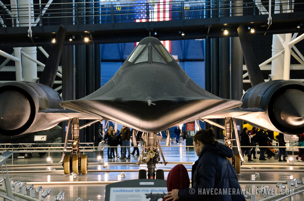 The high-speed Lockheed SR-71 Blackbird spyplane on display at the Smithsonian National Air and Space Museum's Udvar-Hazy Center, a large hangar facility at Chantilly, Virginia, next to Dulles Airport and just outside Washington DC.