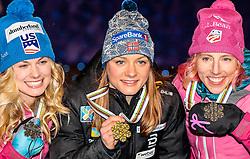 24.02.2017, Lahti, FIN, FIS Weltmeisterschaften Ski Nordisch, Lahti 2017, Damen Langlauf, 5km Sprint, Medaillen Zeremonie, im Bild Silbermedaillengewinnerin Jessica Diggins (USA), Goldmedaillengewinnerin Maiken Caspersen Falla (NOR), Bronze Medaillengewinnerin Kikkan Randall (USA) // Silver Medalist Jessica Diggins (USA) Gold Medalist Maiken Caspersen Falla (NOR) Bronze Medalist Kikkan Randall (USA) during the Medal Award Ceremony for the Ladies Cross Country Sprint competition of FIS Nordic Ski World Championships 2017. Lahti, Finland on 2017/02/24. EXPA Pictures © 2017, PhotoCredit: EXPA/ JFK