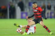 Ajax midefielder Jurgen Ekkelenkamp (40) fouls Flamengo forward Thiago Santos (40) during a Florida Cup match at Orlando City Stadium on Jan. 10, 2019 in Orlando, Florida. <br /> Flamengo won in penalties 4-3.<br /> <br /> ©2019 Scott A. Miller