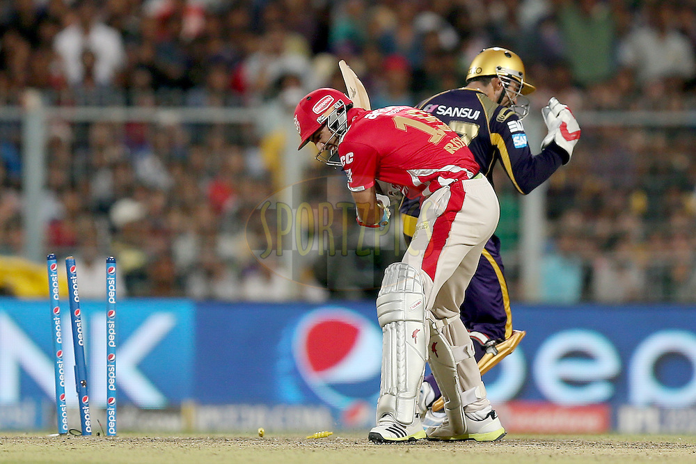 Robin Uthappa celebrates after stumping Rishi Dhawan during the first qualifier match (QF1) of the Pepsi Indian Premier League Season VII 2014 between the Kings XI Punjab and the Kolkata Knight Riders held at Eden Gardens Cricket Stadium, Kolkata, India on the 28th May 2014. Photo by Jacques Rossouw / IPL / SPORTZPICS<br /> <br /> <br /> <br /> Image use subject to terms and conditions which can be found here:  http://sportzpics.photoshelter.com/gallery/Pepsi-IPL-Image-terms-and-conditions/G00004VW1IVJ.gB0/C0000TScjhBM6ikg