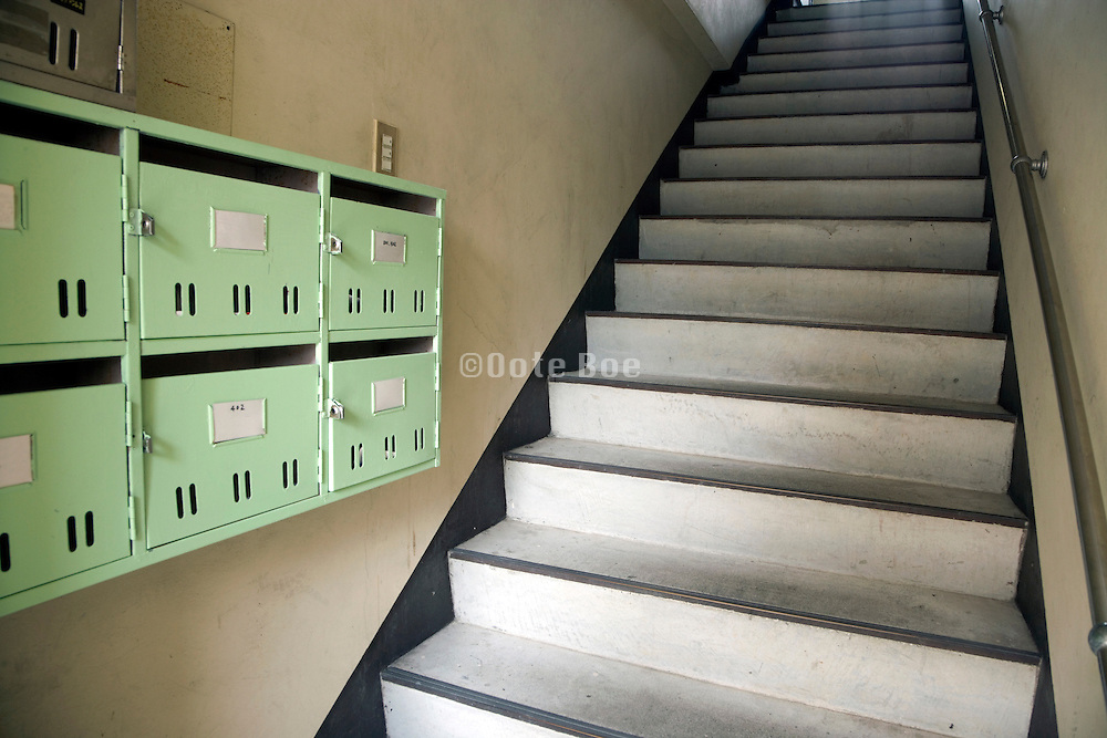 residential apartment flat entrance with mailboxes