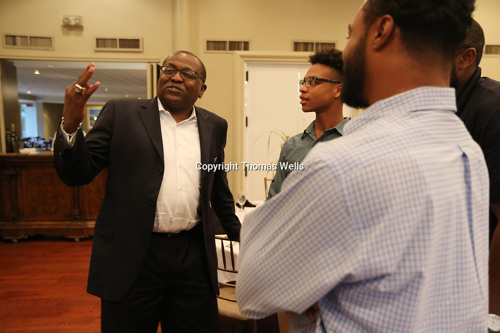 Former Ole Miss and current Cal State Bakersfield head basketball coach Rod Barnes talks to supporters before Thursday's Tupelo Police Athletic League's banquet at the Tupelo Country Club.