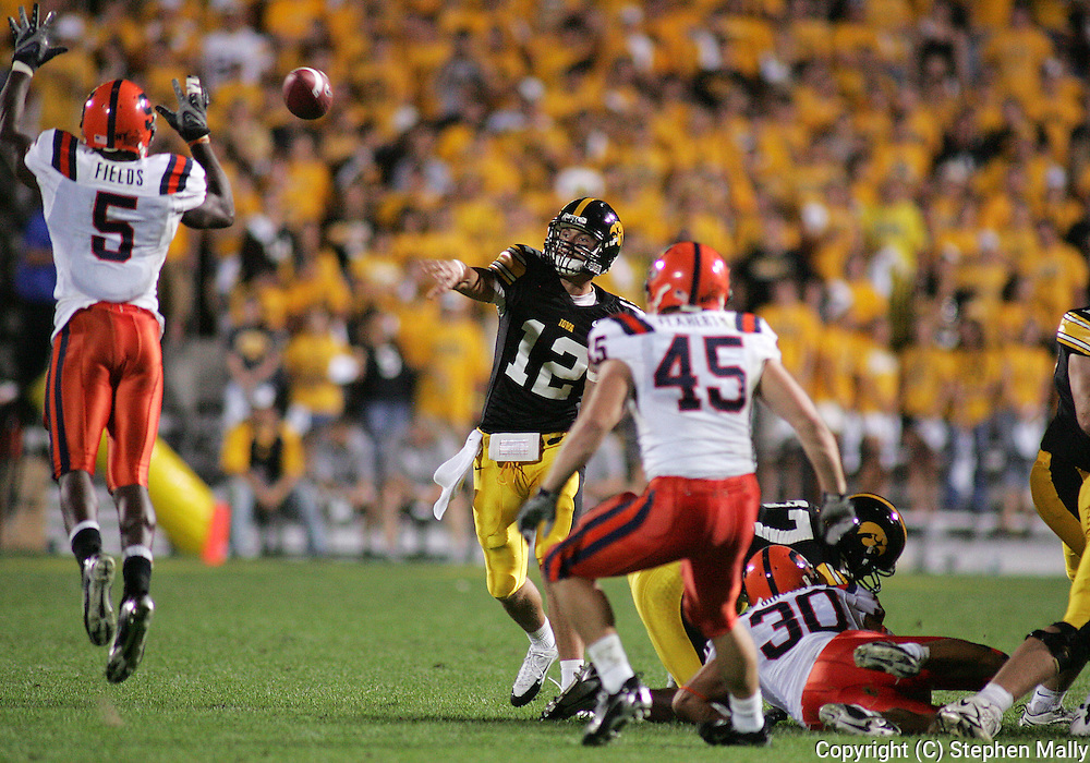 08 SEPTEMBER 2007: Iowa quarterback Ricky Stanzi (12) has his pass batted by Syracuse free safety Joe Fields (5) in Iowa's 35-0 win over Syracuse at Kinnick Stadium in Iowa City, Iowa on September 8, 2007.