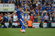 Penalty taken by Leicester City's Jamie Vardy during the Barclays Premier League match between Bournemouth and Leicester City at the Goldsands Stadium, Bournemouth, England on 29 August 2015. Photo by Mark Davies.