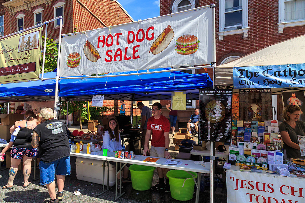 Mechanicsburg, PA, USA - June 21, 2018: Hot Dogs are for sale at the Jubilee Day, the largest, longest running, one-day street fair on the East Coast.