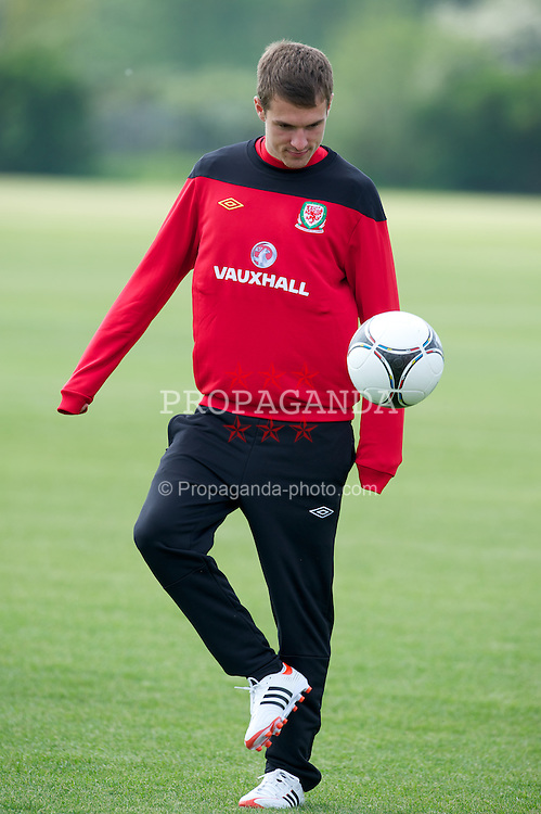 LONDON, ENGLAND - Monday, May 21, 2012: Wales' captain Aaron Ramsey training at Chelsea's Cobham Training Centre ahead of the trip to the USA to face Mexico in a friendly match. (Pic by David Rawcliffe/Propaganda)