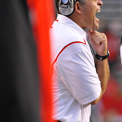 Sep 12, 2009; Piscataway, NJ, USA; Rutgers head coach Greg Schiano yells instructions to his players during the second half of Rutgers' 45-7 victory over Howard in NCAA college football at Rutgers Stadium