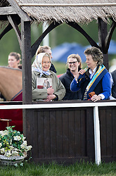 WINDSOR - UK  - 13th May 2016: <br /> The Royal Windsor Horse Show held in Windsor Great Park and Home Park. HM Queen Elizabeth watches her horses compete.<br /> Photograph by  Ian JonesThe Queen watches from her 'Royal Box' at the Copper Horse Arena.