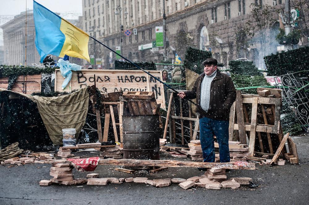 Manifestants place de l'indépendance à Kiev. Le 06-12-13