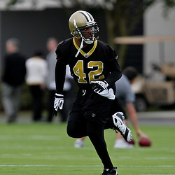 05 June 2009: Saints defensive back Darren Sharper (42) participates in drills during the New Orleans Saints Minicamp held at the team's practice facility in Metairie, Louisiana.