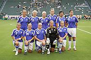 25 August 2007: Finland starting eleven.  Front row (l to r): Petra Vaelma, Susanna Lehtinen, Katri Nokso-Koivisto, Tinja-Riikka Korpela, Leena Puranen.  Back row (l to r): Jessica Julin, Sanna Talonen, Miia Niemi, Annica Sjolund, Tiina Salmen, Sanna Valkonen. The United States Women's National Team defeated the Women's National Team of Finland 4-0 at the Home Depot Center in Carson, California in an International Friendly soccer match.