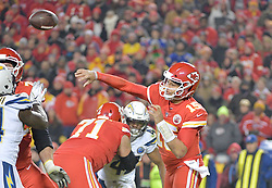 Dec 13, 2018; Kansas City, MO, USA; Kansas City Chiefs quarterback Patrick Mahomes (15) throws a pass during the second half against the Los Angeles Chargers at Arrowhead Stadium. The Chargers won 29-28. Mandatory Credit: Denny Medley-USA TODAY Sports