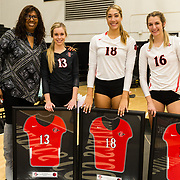 18 November 2017:  The San Diego State women's volleyball team closes out it's season against #24 Colorado State University.  Seniors Baylee Little, Devyn Pritchard and Alexis Cage celebrate their last game as Aztecs. The Aztecs fell to the Rams in three sets. <br /> www.sdsuaztecphotos.com