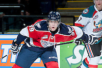 KELOWNA, CANADA -FEBRUARY 19: Parker Bowles #39 of the Tri City Americans looks for the pass against the Kelowna Rockets on February 19, 2014 at Prospera Place in Kelowna, British Columbia, Canada.   (Photo by Marissa Baecker/Getty Images)  *** Local Caption *** Parker Bowles;