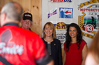 Governor Maggie Hassan and Cynthia Makris from the Naswa Resort at Thursday mornings kickoff event for Motorcycle Week 2015 at Faro Restaurant in Weirs Beach.  (Karen Bobotas/for the Laconia Daily Sun)