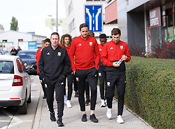 BRATISLAVA, SLOVAKIA - Thursday, October 10, 2019: Wales' (L-R) Tony Strudwick, goalkeeper Daniel Ward and Ben Davies during a pre-match team walk near the Hotel NH Bratislava Gate One ahead of the UEFA Euro 2020 Qualifying Group E match between Slovakia and Wales. (Pic by David Rawcliffe/Propaganda)