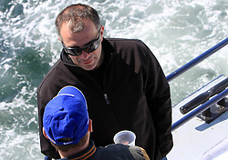 Matjaz Kopitar at whale watching boat, when some guys of Slovenian Team were celebrating an anniversary of playing for the team, during IIHF WC 2008 in Halifax,  on May 07, 2008, sea at Halifax, Nova Scotia, Canada. (Photo by Vid Ponikvar / Sportal Images)