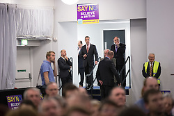 """© Licensed to London News Pictures . 30/11/2015 . Leeds , UK . NIGEL FARAGE (c) waiting in the wings ahead of addressing a """" Say No to the EU """" event at the Leeds United's ground at Elland Road . Photo credit: Joel Goodman/LNP"""