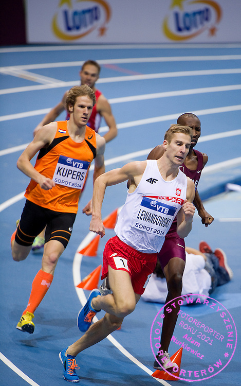 Marcin Lewandowski of Poland competes inmen's 800 meters qualification during the IAAF Athletics World Indoor Championships 2014 at Ergo Arena Hall in Sopot, Poland.<br /> <br /> Poland, Sopot, March 7, 2014.<br /> <br /> Picture also available in RAW (NEF) or TIFF format on special request.<br /> <br /> For editorial use only. Any commercial or promotional use requires permission.<br /> <br /> Mandatory credit:<br /> Photo by &copy; Adam Nurkiewicz / Mediasport
