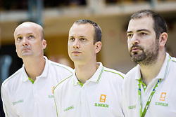 Jure Zdovc, head coach of Slovenia, Gasper Potocnik, assistant coach of Slovenia and Stefanos Dedas, assistant coach of  of Slovenia during friendly basketball match between National teams of Slovenia and Georgia in day 2 of Adecco Cup 2014, on July 25, 2014 in Dvorana OS 1, Murska Sobota, Slovenia. Photo by Vid Ponikvar / Sportida.com