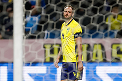 November 20, 2018 - Stockholm, Sweden - Andreas Granqvist of Sweden reacts after missing his chance during the UEFA Nations League B Group 2 match between Sweden and Russia on November 20, 2018 at Friends Arena in Stockholm, Sweden. (Credit Image: © Mike Kireev/NurPhoto via ZUMA Press)