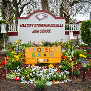 PARKLAND, FLORIDA -- JANUARY  28, 2019: <br /> A memorial in front of Marjorie Stoneman Douglas High School in Parkland, Florida scene of a school massacre in February of 2018, which claimed the lives of 17 students and faculty members.<br /> (Angel Valentin / For The Times)