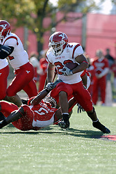 28 October 2006: Kye Stewart gets a hold on Marcus Mason. Youngstown State turned off over 15,000 fans as the win blew their way, cooling off Illinois State 27-13. Nationally ranked teams Youngstown State Penguins and Illinois State Redbirds competed at Hancock Stadium on the campus of Illinois State University in Normal Illinois.<br />