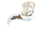 Money - Cash Dollars bank notes and coins on white background
