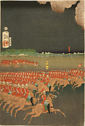 French and British troops engaged in military training manoeuvres, Yokohama, Japan.  British cavalry exercise. Part of triptych by Taiso Yoshitoshi (1839-1892) Japanese Ukiyo-e artist. Horse