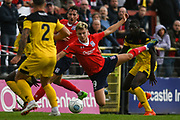 Jake Wright of York City (9) throws himself at the loose ball in the box during the Vanarama National League match between York City and Kidderminster Harriers at Bootham Crescent, York, England on 15 September 2018.