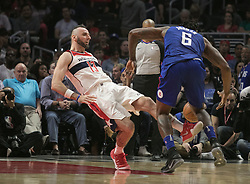 December 9, 2017 - Los Angeles, California, United States of America - Marcin Gortat #13 of the Washington Wizards is fouled by DeAndre Jordan #6 the Los Angeles Clippers during their NBA game on Saturday December 9, 2017 at the Staples Center in Los Angeles, California. Clippers defeat Wizards, 113-112. JAVIER ROJAS/PI (Credit Image: © Prensa Internacional via ZUMA Wire)