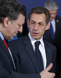 Nicolas Sarkozy, France's president, right, speaks with Jose Manuel, Barroso, president of the European Commission, during the European Summit, in Brussels, on Thursday, March 25, 2010. (Photo © Jock Fistick)