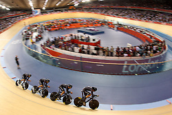 Team New Zealand (Sam Bewley,Aaron Gate, Westley Gough and Marc Ryan)  during the Men's team pursuit qualifying held at the Velodrome at Olympic Park in London as part of the London 2012 Olympics on the 2nd August 2012..Photo by Ron Gaunt/SPORTZPICS