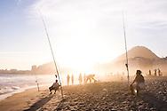 Fishing at Copacabana Beach at Sunset, Rio de Janeiro, Brazil