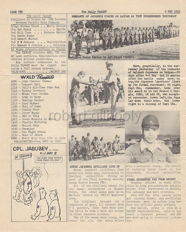 Saipan's daily newspaper the Target reports the surrender of Capt. Sakae Oba, who lead 47 Imperial Japanese Army soldiers in a defiant 16-month last stand in the jungles against the US forces in Saipan, on Dec. 1945..PHOTO COURTESY OF SCOTT RUSSELL