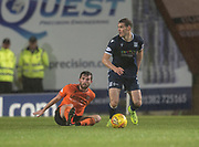 30th August 2019; Dens Park, Dundee, Scotland; Scottish Championship, Dundee Football Club versus Dundee United; Josh Todd of Dundee goes past Sam Stanton of Dundee United