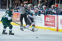 KELOWNA, CANADA - FEBRUARY 2: Gordie Ballhorn #4 of the Kelowna Rockets takes a shot from the point against the Everett Silvertips  on FEBRUARY 2, 2018 at Prospera Place in Kelowna, British Columbia, Canada.  (Photo by Marissa Baecker/Shoot the Breeze)  *** Local Caption ***