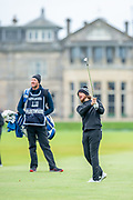 Tommy Fleetwood plays his second shot to the first hole during the final round of the Alfred Dunhill Links Championship European Tour at St Andrews, West Sands, Scotland on 29 September 2019.