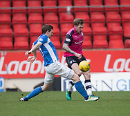 Dundee&rsquo;s Kevin Holt and St Johnstone&rsquo;s Blair Alston - St Johnstone v Dundee in the Ladbrokes Scottish Premiership at McDiarmid Park, Perth: Picture &copy; David Young<br /> <br />  - &copy; David Young - www.davidyoungphoto.co.uk - email: davidyoungphoto@gmail.com