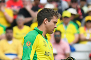 Alex Carey of Australia is cut on the chin as his helmet falls off as he is struck by a Jofra Archer of England bouncer during the ICC Cricket World Cup 2019 semi final match between Australia and England at Edgbaston, Birmingham, United Kingdom on 11 July 2019.