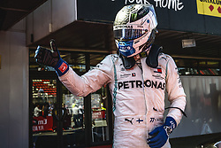 May 12, 2019 - Barcelona, Catalonia, Spain - VALTTERI BOTTAS (FIN) from team Mercedes  gets out of his W10 after finishing second at the Spanish GP on the podium at the Circuit de Barcelona - Catalunya (Credit Image: © Matthias Oesterle/ZUMA Wire)