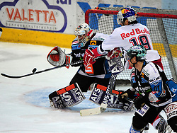 27.01.2012, Keine Sorgen Eisarena, Linz, AUT, EBEL, EHC Liwest Black Wings Linz vs EC Red Bull Salzburg, at the picture goalkeeper Alex Westlund (Liwest Black Wings Linz, #32) and Ramzi Abid (EC Red Bull Salzburg, #19), during the Erste Bank Icehockey League, Keine Sorgen Eisarena, Linz, Austria, 2012-01-27, EXPA Pictures © 2012, PhotoCredit: EXPA/ Reinhard Eisenbauer