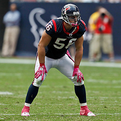 October 10, 2010; Houston, TX USA; Houston Texans linebacker Brian Cushing (56) lines up against the New York Giants during the first half at Reliant Stadium. Mandatory Credit: Derick E. Hingle