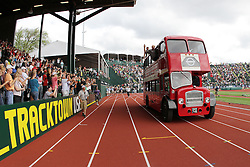 2012 USA Track & Field Olympic Trials: double-decker bus takes victory lap with Olympians aboard