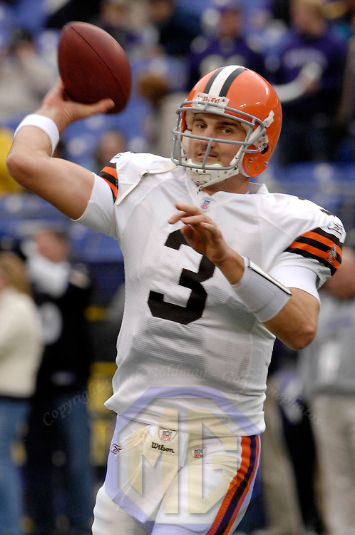 18 November 2007: Cleveland Browns quarterback Derek Anderson (3) warms up prior to the game against the Baltimore Ravens on November 18, 2007 at M&T Bank Stadium in Baltimore, Maryland. The Ravens were sent to their 4th consecutive loss with a 33-30 overtime time win by the Browns..