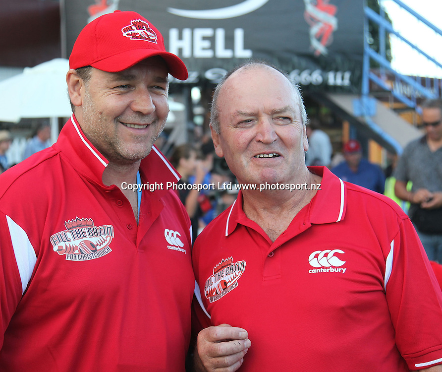 Cricket Quake Relief Game Basin Reserve. 13.3.2011 Russell Crowe and Graham Henry take time out between overs..Bush pic  3 3