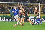 Hull City midfielder Jake Livermore (14) and Ross Barkley (8) Everton FC midfielder during the Premier League match between Hull City and Everton at the KCOM Stadium, Kingston upon Hull, England on 30 December 2016. Photo by Ian Lyall.